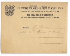 ENVELOPPE   LES VETERANS Des ARMEES De TERRE Et De MER 1870/71 - 1921-1960: Moderne
