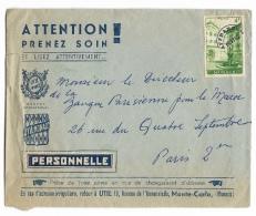 """ENVELOPPE   PUBLICITAIRE  """" ATTENTION PRENEZ SOIN """" - Marcophilie (Lettres)"""