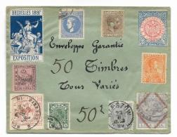 """ENVELOPPE   Publicitaire """" 50 TIMBRES TOUS VARIÉS """" - 1961-...."""