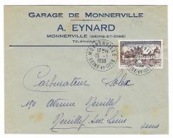 """ENVELOPPE PUBLICITAIRE   """" Garage De MONNERVILLE """" A. EYNARD   MONNERVILLE ( Seine Et Oise ) - Marcophilie (Lettres)"""