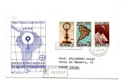 Fa363 - VATICANO FDC Capitolium 1968 :    Raccomandata Con Annullo D´arrivo CONGRESSO EUCARISTIC0 - FDC