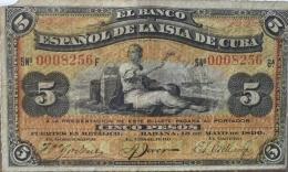 CUBA 5 PESOS 1898 PICK 48a - Cuba