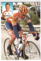 CPM MATTHE PRONK  COUREUR CYCLISTE CYCLISME VELO PALMARES ET SPONSORS AU DOS DEDECACE IMPRIMEE - Cyclisme