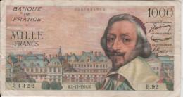 Billet  1.000  Francd  Richelieu -  H.2-12-1954.H.  N°  34326  E.92 - 1871-1952 Gedurende De XXste In Omloop