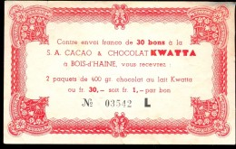 Publicité Reclame Waardebon Bon Chocolat Kwatta  Chocolade - Chocolat