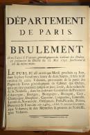AFFICHE REVOLUTION. FAC-SIMILÉ - 88 -  DEPARTEMENT DE PARIS;  BRULEMENT DES TITRES & TRVAUX GÉNÉALOGIQUES DU CABINET DE - Afiches