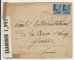 1943 - CENSURES ALLEMANDE + US Sur ENVELOPPE De PHILIPPEVILLE (ALGERIE) Pour GENEVE - Marcophilie (Lettres)