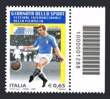 ITALIA 2009 Valentino Mazzola Giornata Delle Sport 0,65 Codice A Barre N° 1288 Integro MNH ** - Códigos De Barras