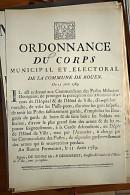 AFFICHE REVOLUTION. FAC-SIMILÉ - 94 - ORDONNANCE DU CORPS MUNICIPAL ET ELECTORAL DE LA COMMUNE DE ROUEN DU 11 AOUT 1789 - Affiches
