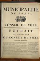 AFFICHE REVOLUTION. FAC-SIMILÉ - 101 - MUNICIPALITÉ DE PARIS; CONSEIL DE VILLE. EXTRAIT DU REGISTRE DU CONSEIL DE VILLE - Affiches