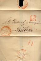 Año 1849 Prefilatelia Carta De Oviedo A Bilbao Marcas Oviedo Asturias, Porteo 1R Y En El Reverso Cifra 11 - ...-1850 Prefilatelia