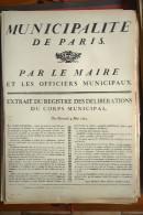 AFFICHE REVOLUTION. FAC-SIMILÉ - 109 - MUNICIPALITÉ DE PARIS. PAR LE MAIRE ET LES OFFICIERS MUNICIPAUX. DU 4 MAI 1791. - Afiches