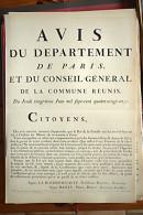AFFICHE REVOLUTION. FAC-SIMILÉ - 116 - AVIS DU DEPARTEMENT DE PARIS, ET DU CONSEIL-GENERAL DE LA COMMUNE REUNIS DU 23 J - Affiches