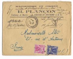 ENVELOPPE   PUBLICITAIRE MACONNERIE&CIMENT  H.PLANÇON  La Guerche De Bretagne - 1921-1960: Moderne