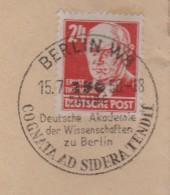 G 644) SSt Berlin W8 15.7.50: 250 Jahre Deutsche Akademie Der Wissenschaften COGNATA AD SIDERA TENDIT - Wissenschaften