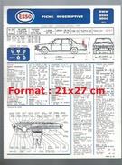 Fiche Descriptive Et Plan De Graissage ESSO BMW 2500 - 2800 De 1973 - Cars