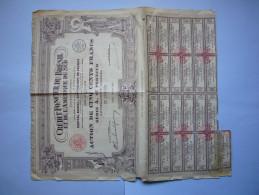 Belle Action Illustrée 1928 Crédit Foncier Du Brésil Et De L'Amérique Du Sud 500 Francs Au Porteur - Banque & Assurance