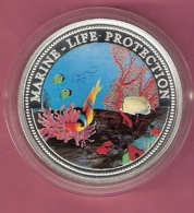 PALAU 5 DOLLAR 1994 AG PROOF MULTICOLOUR OPL. 10000 PCS MARINE LIFE PROTECTION (SCRATCHES ON CAPSEL) - Palau