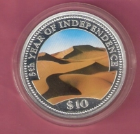 NAMIBIE 10 DOLLAR 1995 AG PROOF MULTICOLOUR OPL. 8000 PCS 5TH YEAR OF INDEPENDENCE (SCRATCHES ON CAPSEL) - Namibie