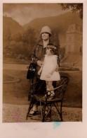 Carte Photo Originale Enfant - Portrait De Mère Et Fillette En 1928 En Studio - Anonieme Personen