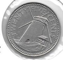 *barbados 25 Cents 1981  Km 13  Unc - Barbades