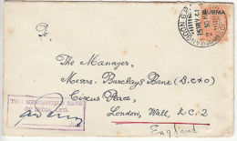 Burma: Cover, Mercantile Bank Of India, Rangoon, To Barclays, London, 15 No 1941 - Burma (...-1947)