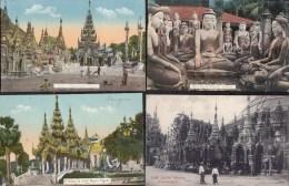 "8 CARDS ASIA - BURMA - MYANMAR  RANGOON "" DIFFERENT PAGODA "" - édit. P. Klier  & Ahuka Rangoon - Myanmar (Burma)"
