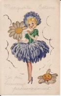 Fille Fleur, Marguerite, Découpis, Paillettes,IDA 599 , 2 Scans - Dessins D'enfants