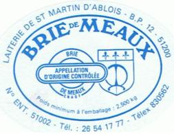 ETIQUETTE FROMAGE BRIE DE MEAUX  ETS PAIN JESSON ST MARTIN D ABLOIS - Fromage