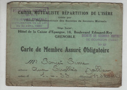 Carte De Membre Assuré Obligatoire Caisse Mutualiste Isère Bourgoin Secours Mutuels Poncet Jallieu Pivollets - Non Classés