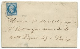 CAD SUR N° 14 BLEU NAPOLEON SUR LETTRE/ GRIOTIER ANNONAY ARDECHE POUR PARIS / 9 AOUT 1861 / FAIRE PART MARIAGE - Marcophilie (Lettres)