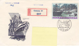 1972 - Registered Mail Ostrava Boat Stamps...to Luxembourg - FDC
