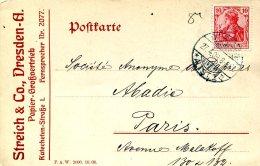 Carte Postale De Dresde à Paris Du 27-4-1909 - Streich & Co à Dresde - Germania
