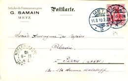 Carte Postale De Metz à Paris Du 11-8-1910 - Articles De Fumeurs En Gros G.Samain - Allemagne