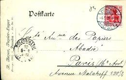 Carte Postale De Dresde à Paris Du 4-5-1909 - R.Beyer, Papier-Lager - Germania