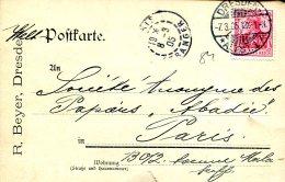 Carte Postale De Dresde à Paris Du 7-3-1905 - R.Beyer - Germania