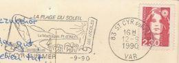 1990 FRANCE Stamps COVER Illus SLOGAN Illus ROMAN  VASE , ST CYR SUR MER MUSUEM (postcard) Archaeology - Archéologie
