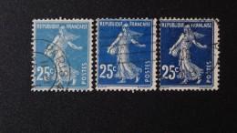 """1907 3x""""Semeuses"""" N°140 25c. Bleu+bleu Foncé+bleu Noir, 3 Belles """"Semeuses"""" Oblitérées, 0,50 € (cote 6,45 €) - 1906-38 Säerin, Untergrund Glatt"""