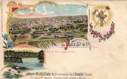 RRR! Litho Souvenir De NAZARETH (Israel) - Vue Du Jordain, Um 1900, Werbung Instrumentenfabrik Graslit In Böhmen ... - Israël
