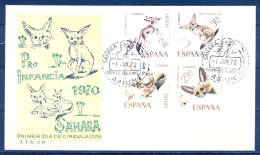 1970 SAHARA , ED. 279 / 282 SOBRE PRIMER DIA , PRO INFANCIA , FAUNA - Sahara Español