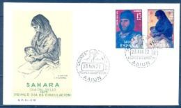 1972 SAHARA , ED. 308 / 309 , SOBRE PRIMER DIA , DIA DEL SELLO , PINTURA - Sahara Español