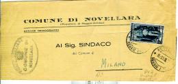 LAVORO £.15,ISOLATO IN TARIFFA RIDOTTA SINDACI MANOSCRITTI,1953,PIEGO COMUNALE NOVELLARA,POSTE NOVELLARA,REGGIO EMILIA, - 1946-.. République