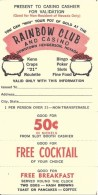 Old Paper Coupon From The Rainbow Club And Casino In Henderson, NV - Advertising
