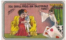 Carmichael Artist Signed, Fortune Telling With Playing Cards, Romance Humor, C1910s Vintage Postcard - Illustratori & Fotografie