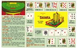 Las Vegas Nevada, Sahara Resort Playing Cards Gambling , '21' Rules C1950s/60s Vintage Postcard - Playing Cards