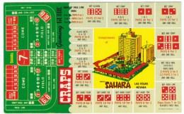 Las Vegas Nevada, Sahara Resort, Dice Gambling , 'Craps' Rules C1950s/60s Vintage Postcard - Playing Cards