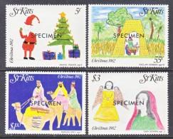 """ST. KITTS  102-5  *    """"SPECIMEN""""    CHRISTMAS - St.Kitts And Nevis ( 1983-...)"""