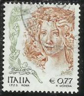 ITALIA REPUBBLICA ITALY REPUBLIC 2002 LA DONNA NELL´ARTE WOMAN IN ART € 0,77 USATO USED OBLITERE´ - 2001-10: Used