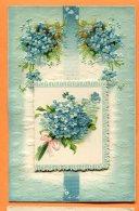 MAI057, Fleur Bleue, Petit Carnet Qui S'ouvre, Relief, Circulée Sous Enveloppe - Mechanical