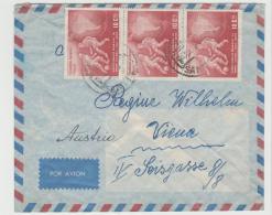 CHI001 /  CHILE - Brief, Fussball Weltmeisterschaften CHILE 1962 Im 3-er Streifen Nach Österreich Auf Brief - Chile